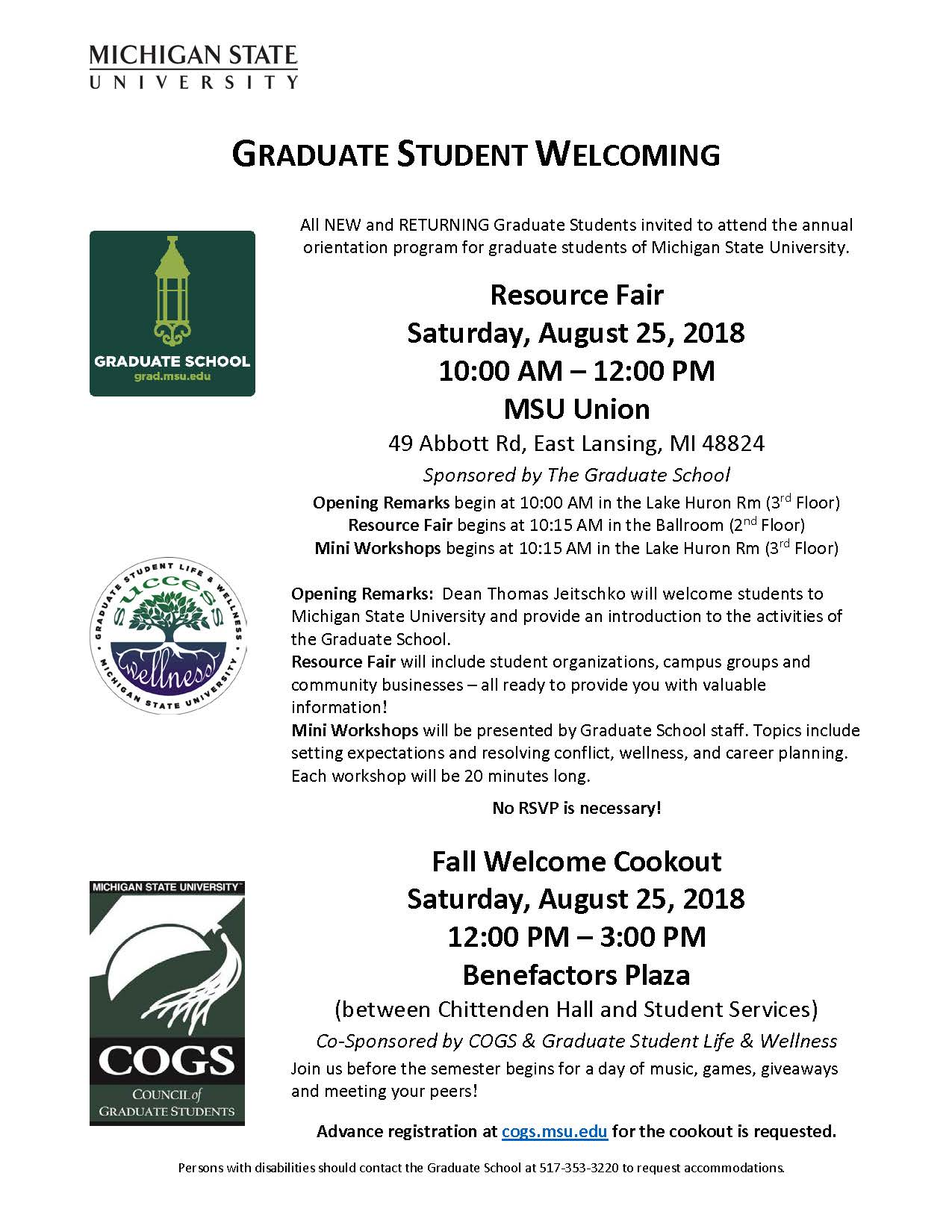 Graduate Student Welcoming 2018