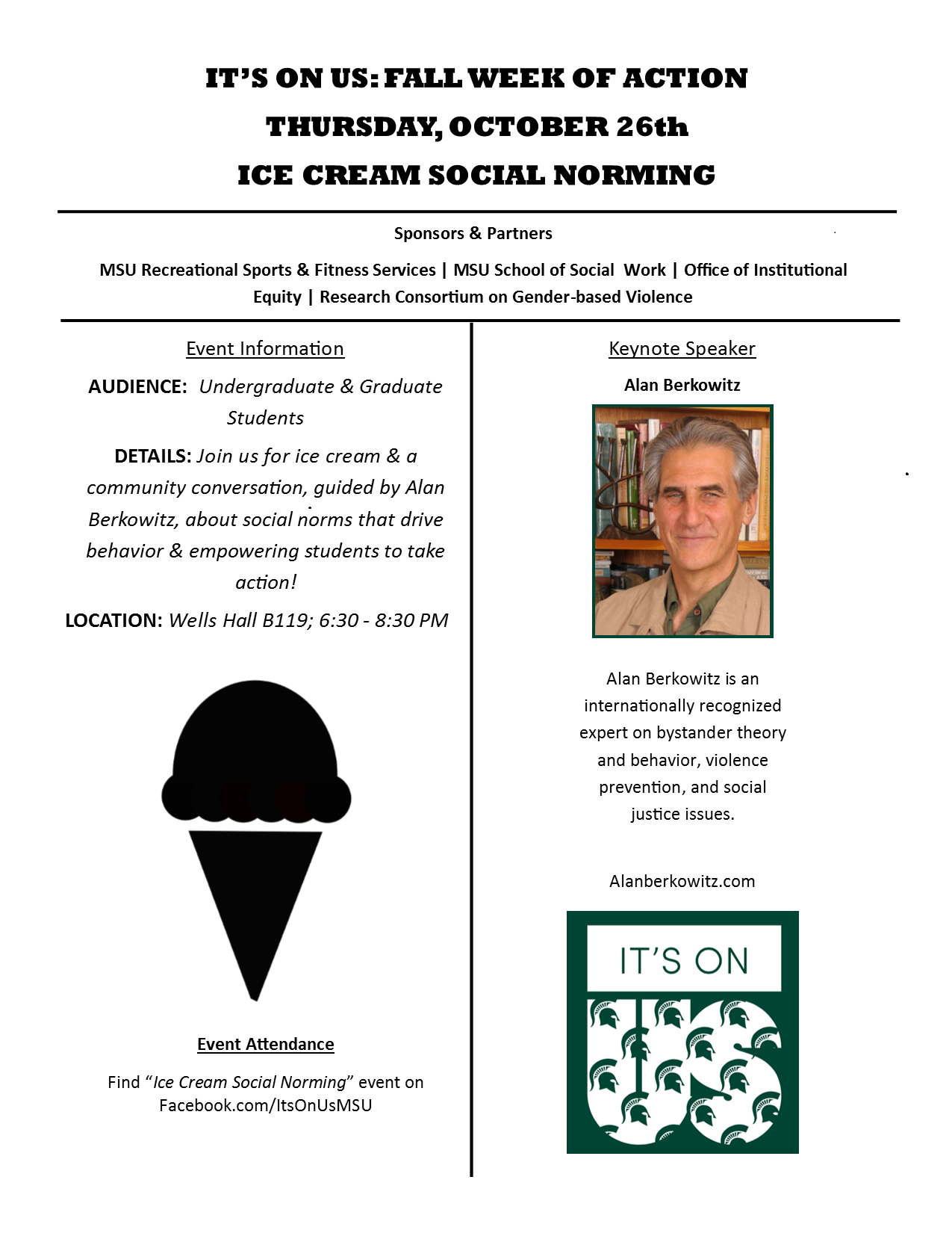 It's On Us Ice Cream Social Norming Flyer