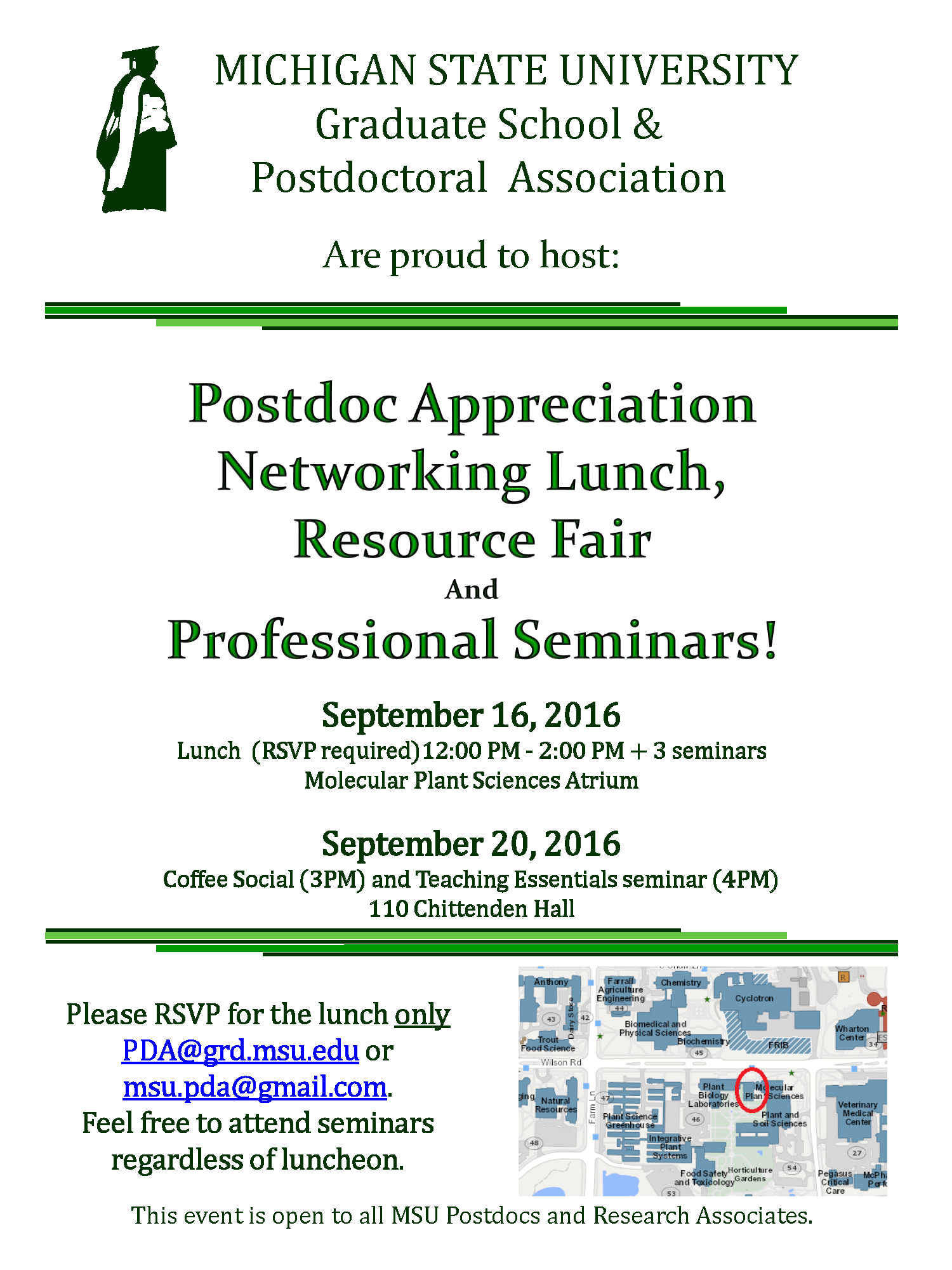 Postdoc Appreciation Networking Lunch, Resource Fair