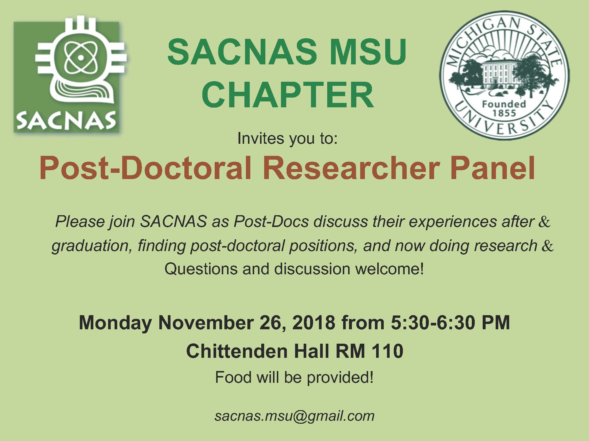 SACNAS MSU Chapter Post-Doc Researcher Panel