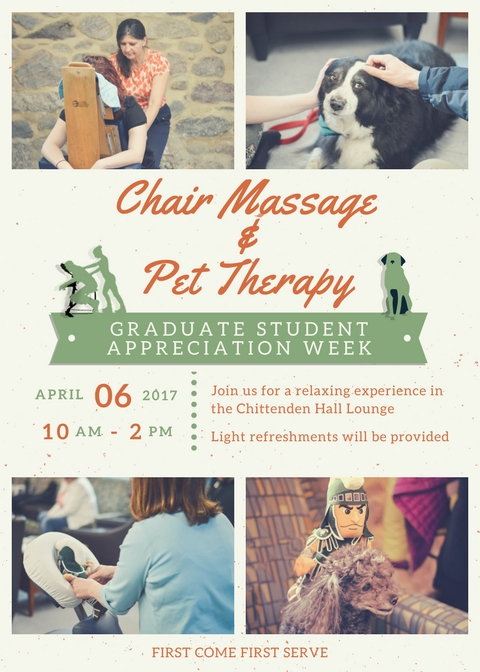 April 6, 10 - 2 Free Chair Massage, Pet Therapy and snacks
