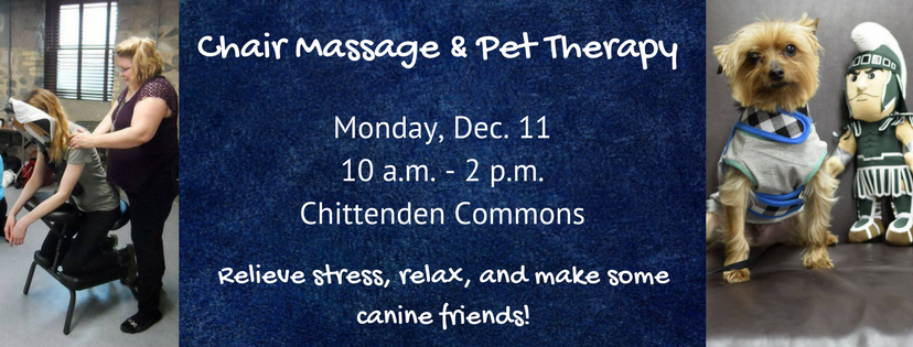 Chair Massage & Pet Therapy on December 11, 2017