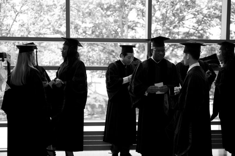 graduate students in caps and gowns