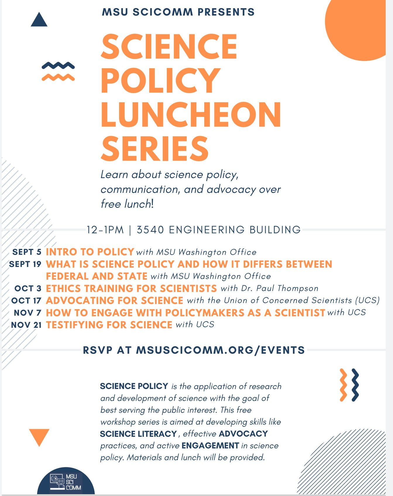 MSU SciComm Science Policy Luncheon Series Flyer