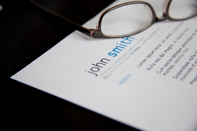Job Resume with Glasses