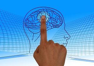 hand pointing to image of brain