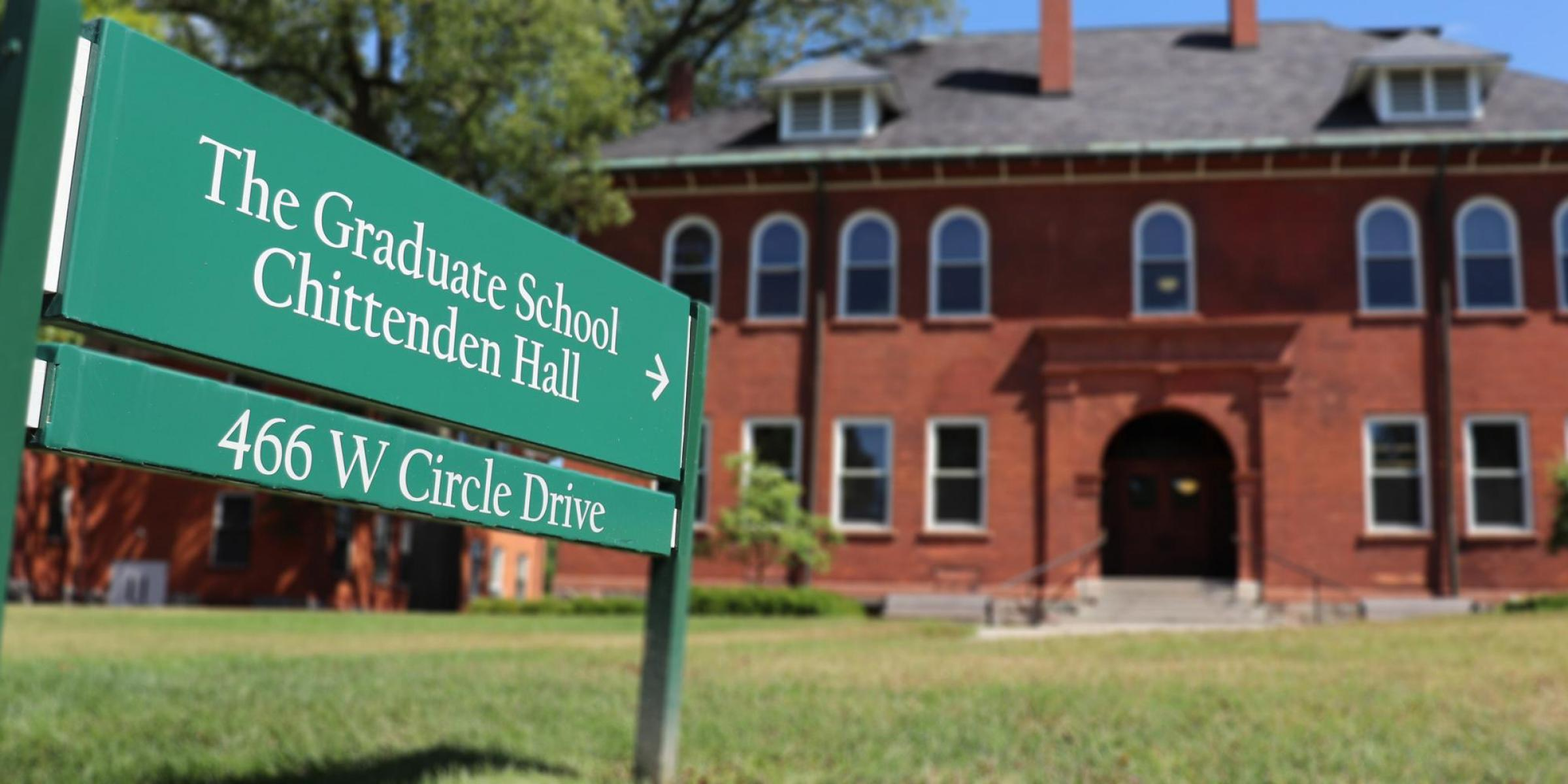 The Graduate School sign in front of Chittenden Hall