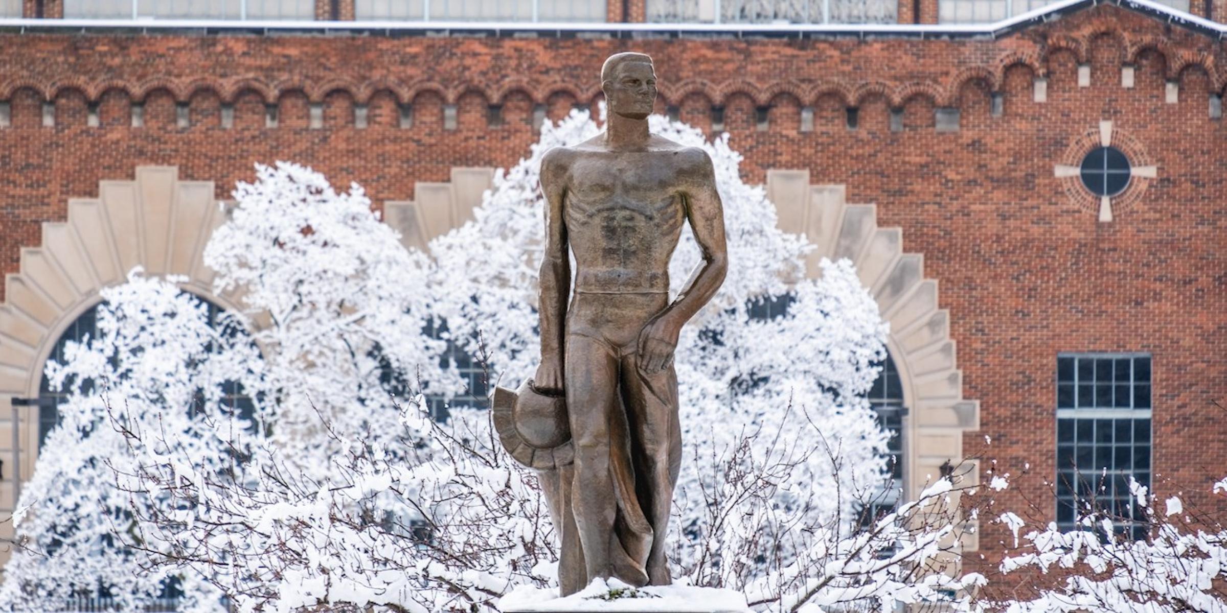 Sparty statue in snowy scene